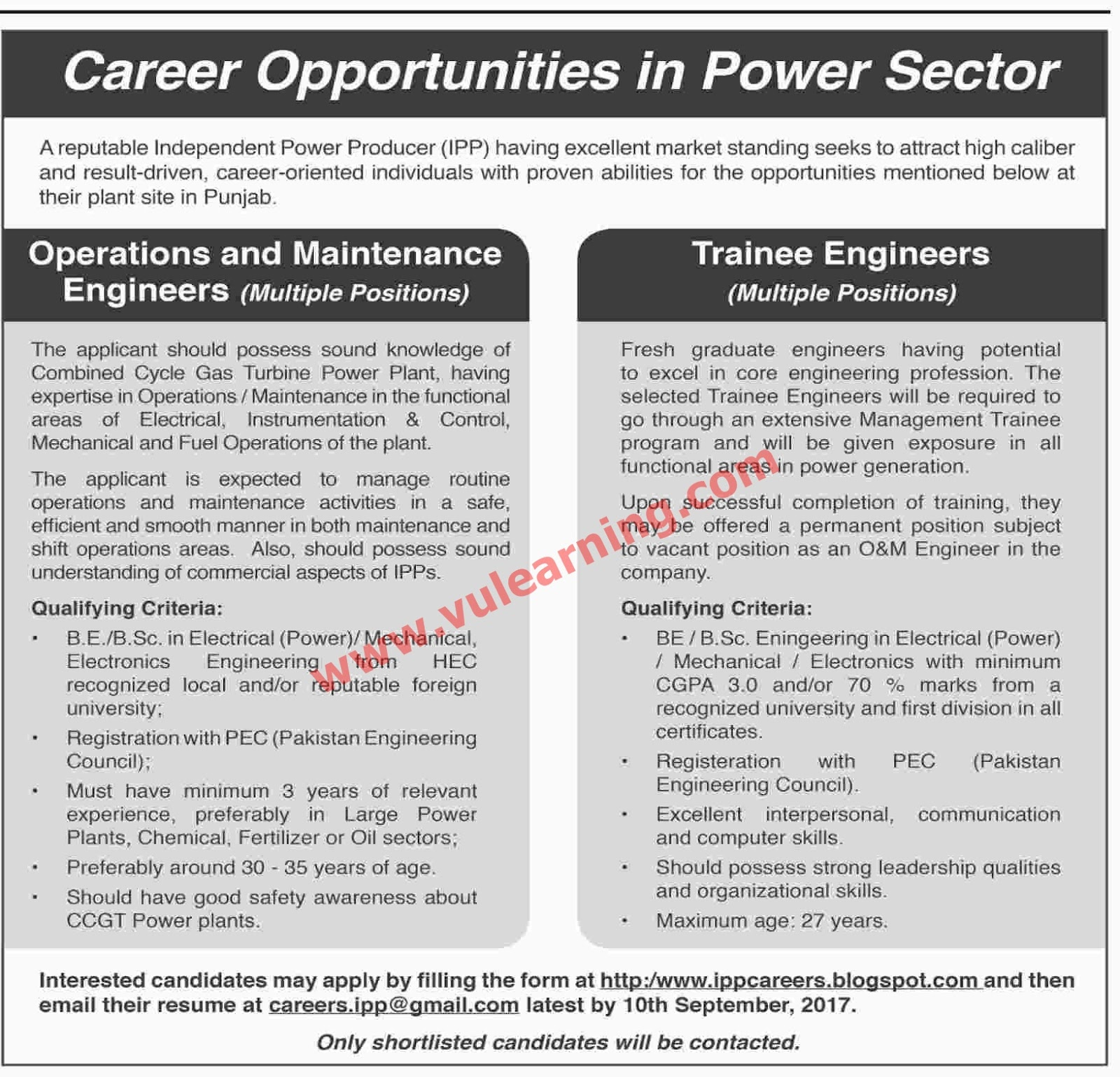 Daily Job Pakistan Trainee Engineers Jobs in Independent Power