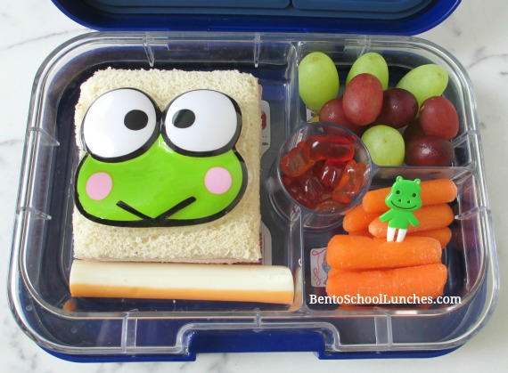 Keroppi topper on a sandwich for lunch