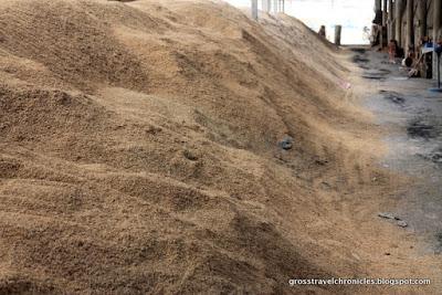 large pile of rice hulls