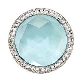 Large Silver Aqua Prism Twist Living Locket Face with Swarovski Crystals available at StoriedCharms.com