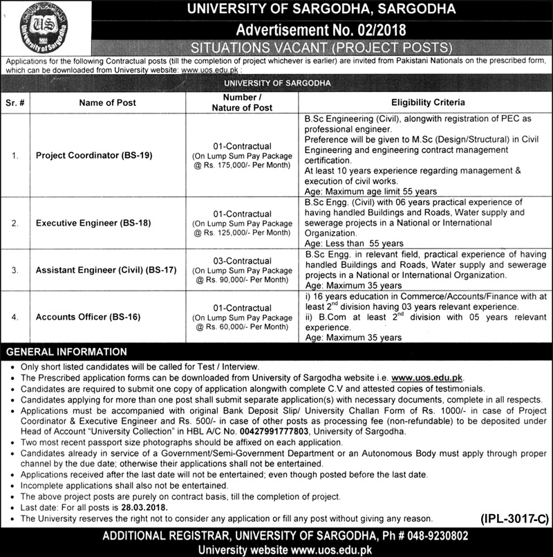 New Jobs announced today in University of Sargodha UOS
