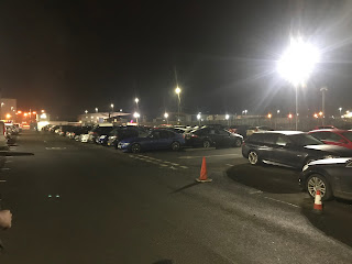 airport parking at night