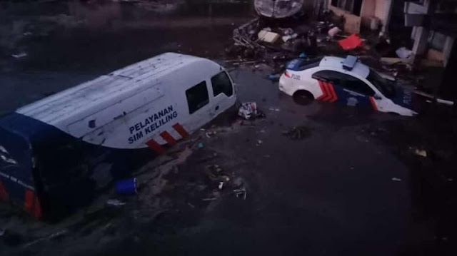 Tsunami di Palu, Kantor Ditlantas Polda Sulteng Rusak Berat