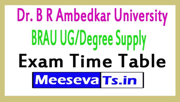 Dr.B R Ambedkar University BRAU UG/Degree Supply Exam Time Table 2017