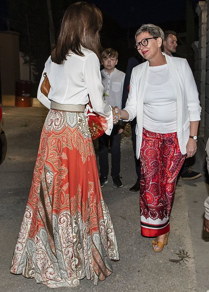 Crown Princess Mary wore Etro Printed Silk Crepe Maxi Skirt.