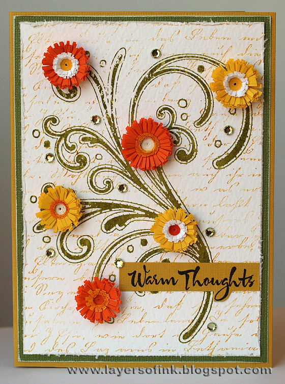 Layers of ink lots of quilling i used 3 mm paper for the flower centers 6 mm paper for the inner fringed paper and 10 mm paper for the outer fringed paper three strips were glued mightylinksfo