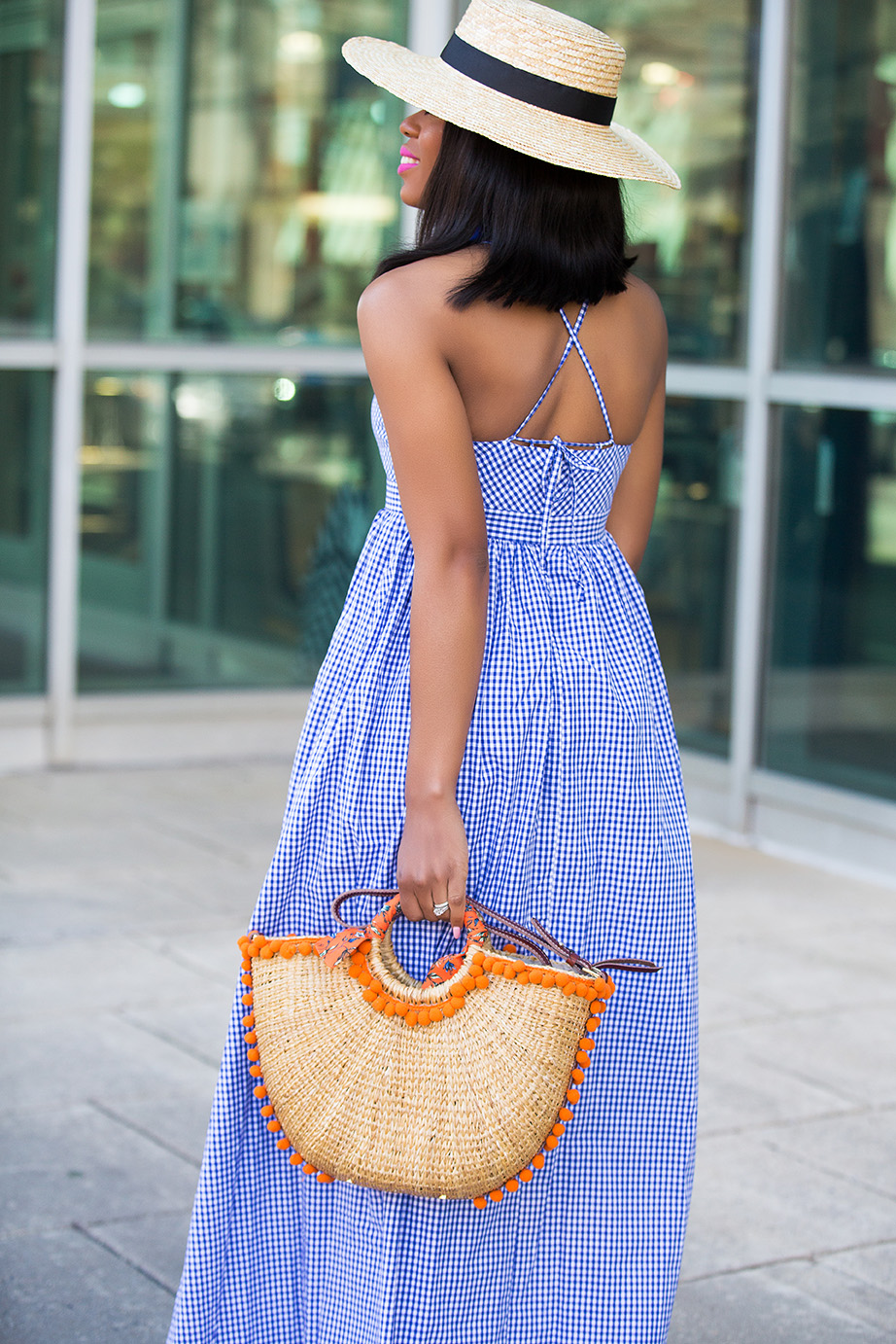 Sam edelman straw beach tote, gingham dress, www.jadore-fashion.com