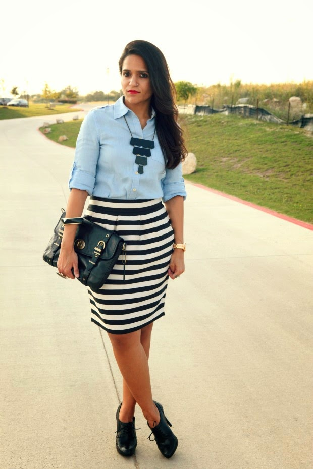 Banana Republic Shirt, Skirt, BCBG Shoes, Crazy & Co. Necklace, Coach Bag, Tanvii.com