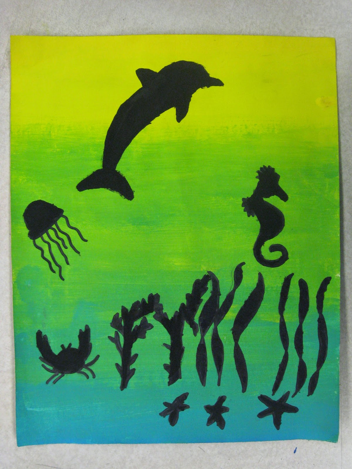 Their Analogous Colored Painting I Encouraged Them To Create A Silhouette Of Something That They Liked Many Choose Sports Themes Or Favorite Animals
