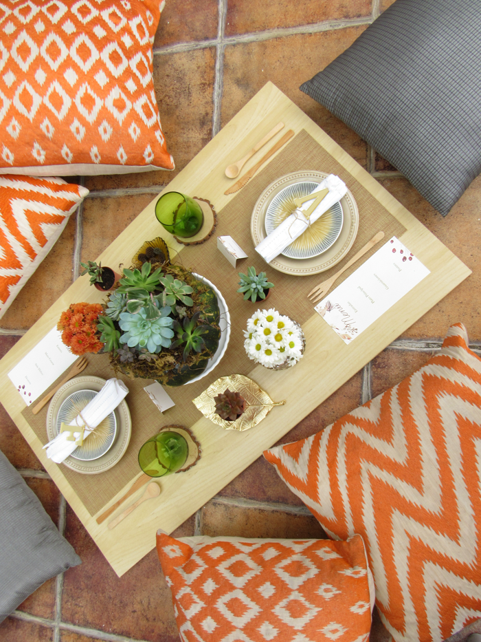 Valentina Vaguada: friendsgiving. thankful, outdoor, wood, boho, pumpkin, succulent pumpkin