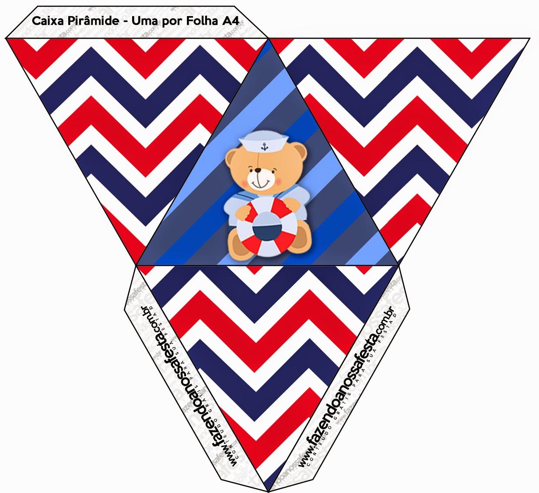 Caja con forma de pirámide de Osito Marinero.