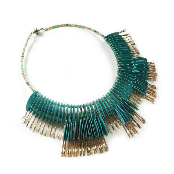 turquoise paper and silver metal beaded statement necklace