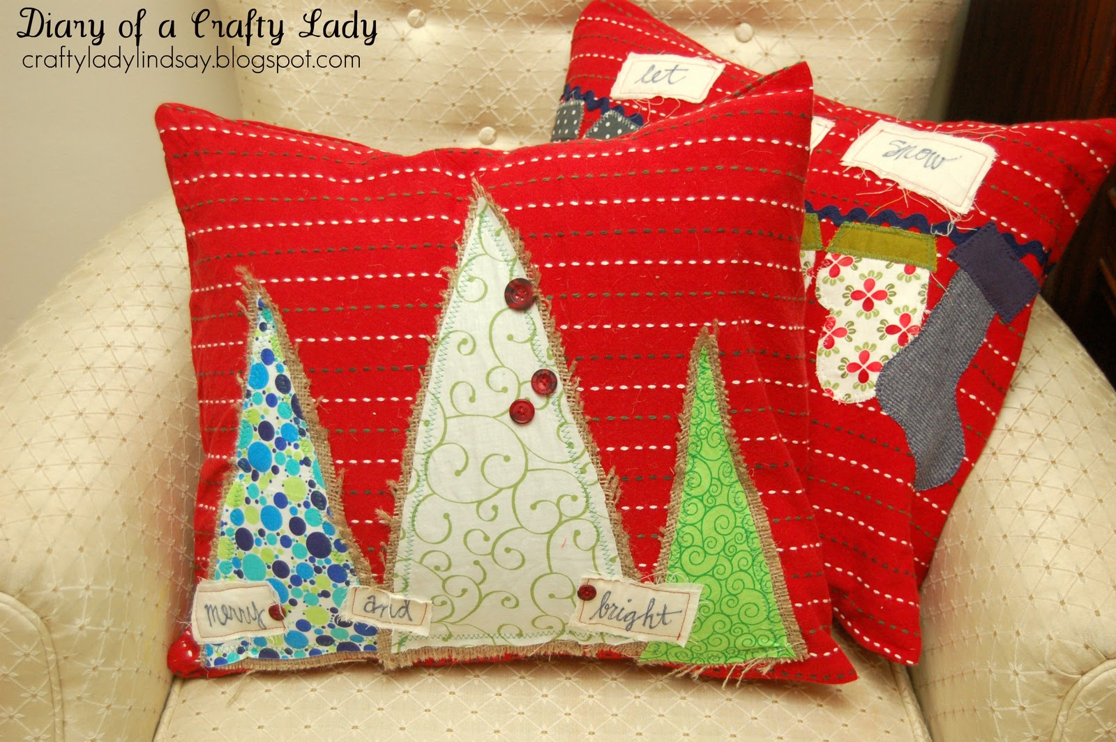 How To Make Throw Pillow Covers By Hand : Diary of a Crafty Lady: Christmas Pillow Covers (made with decorated hand towels!)