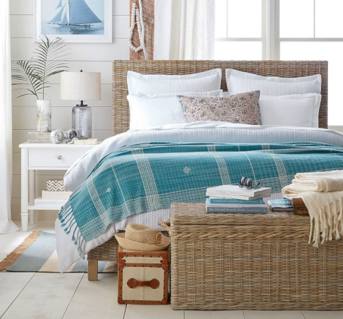Rattan Storage Trunk Large Lidded Basket End of Bed Storage Bedroom Idea Coastal