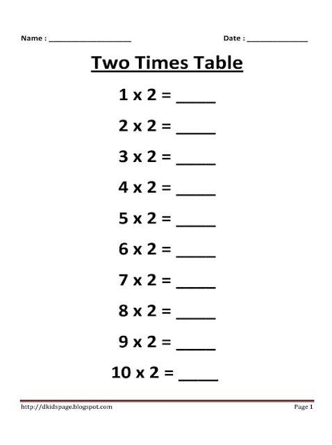 kids page 2 times multiplication table worksheet. Black Bedroom Furniture Sets. Home Design Ideas