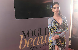 Aditi Rao Hyadari looks stunning in a Deep neck Tight Dress at Spotted at Vogue Beauty Awards