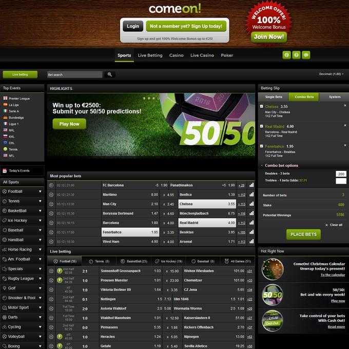 ComeOn Screen