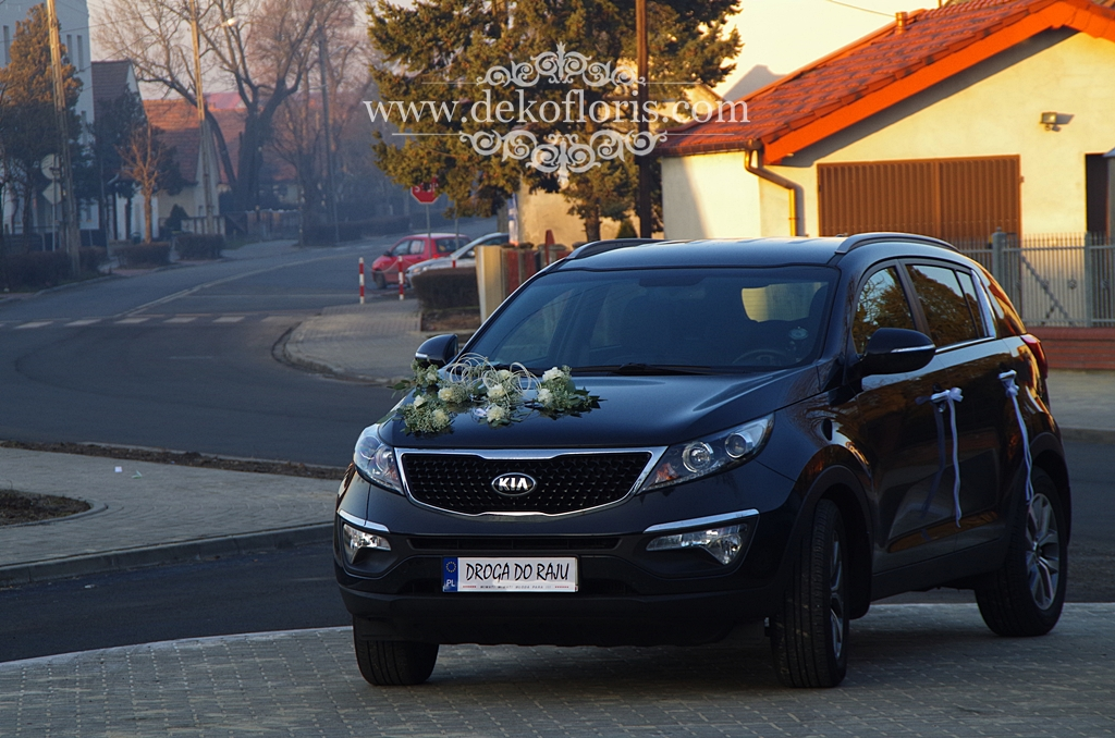 Dekoracja ślubna samochodu Młodej Pary Opole