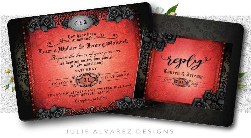 Halloween Wedding Invite Red & Black Gothic Roses by Julie Alvarez Designs