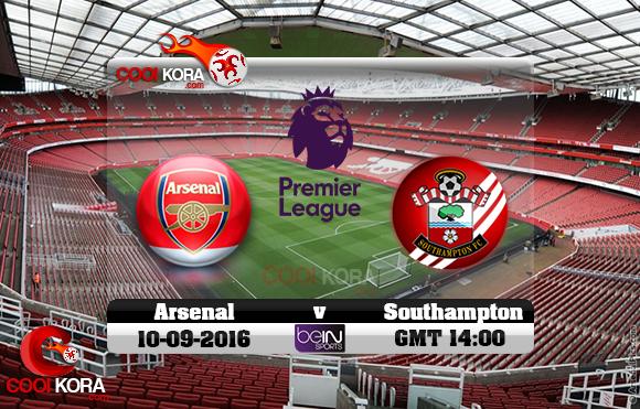 مشاهدة مباراة آرسنال وساوثهامبتون اليوم 10-9-2016 في الدوري الإنجليزي