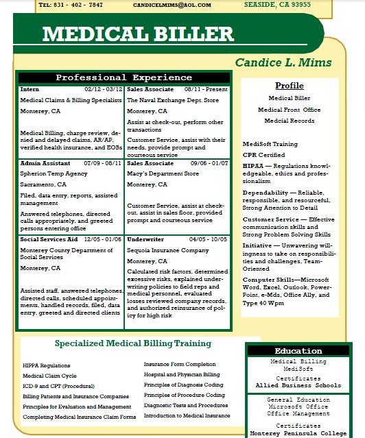 Medical Billing Resume Customer Service Representative Resume