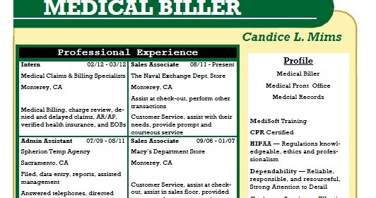 Medical Billing And Coding Resume Sample - Costumepartyrun - medical billing sample resume