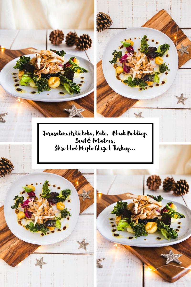 Jerusalem Artichoke, Kale,  Black Pudding, Sauté Potatoes, Shredded Maple Glazed Turkey.