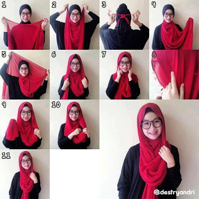 7 Tutorial Hijab Pashmina Kaos Simple Terbaru 2018