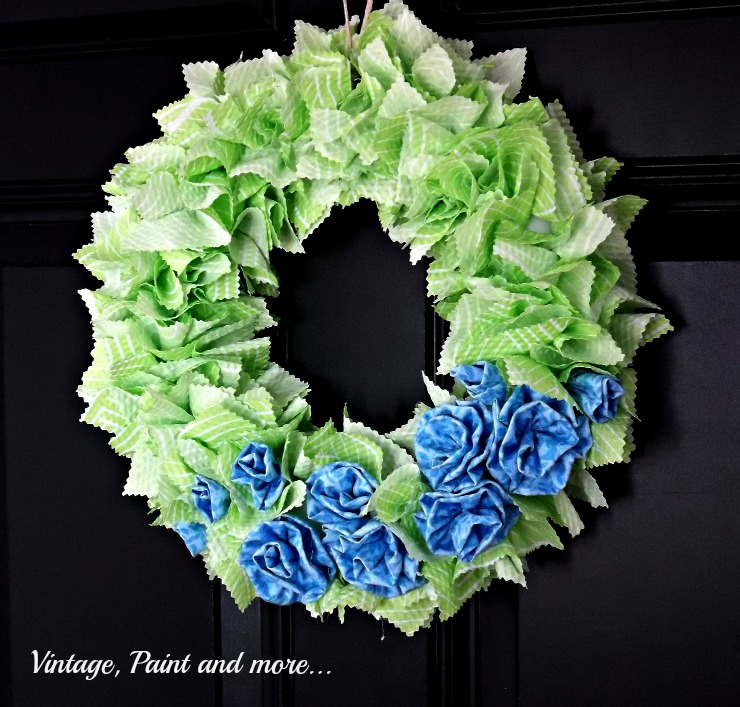 Vintage, Paint and more... a Spring Wreath and/or St. Patrick's wreath made with fabric squares and fabric rosettes
