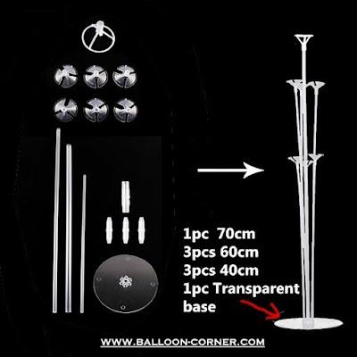 Properti Balon Tiang Meja Dengan Stik Plastik + Cup (Pakai Sambungan)