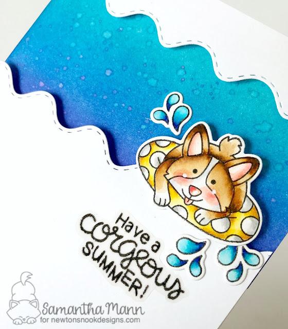 Have a Corg-eous Summer Card by Samantha Mann for Newton's Nook Designs, Summer, Handmade Cards, Distress Inks, Ink Blending, Summer #newtonsnook #summer #distressinks #inkblending