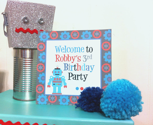 Build your own robot, ideas for a robot party, robot party decor