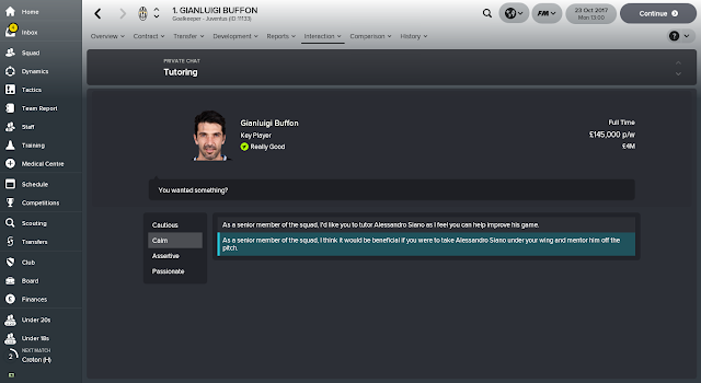Tutoring off the pitch Football Manager