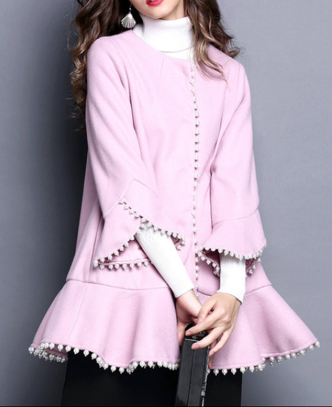 Casual Frill Sleeve Beaded Crew Neck Coat
