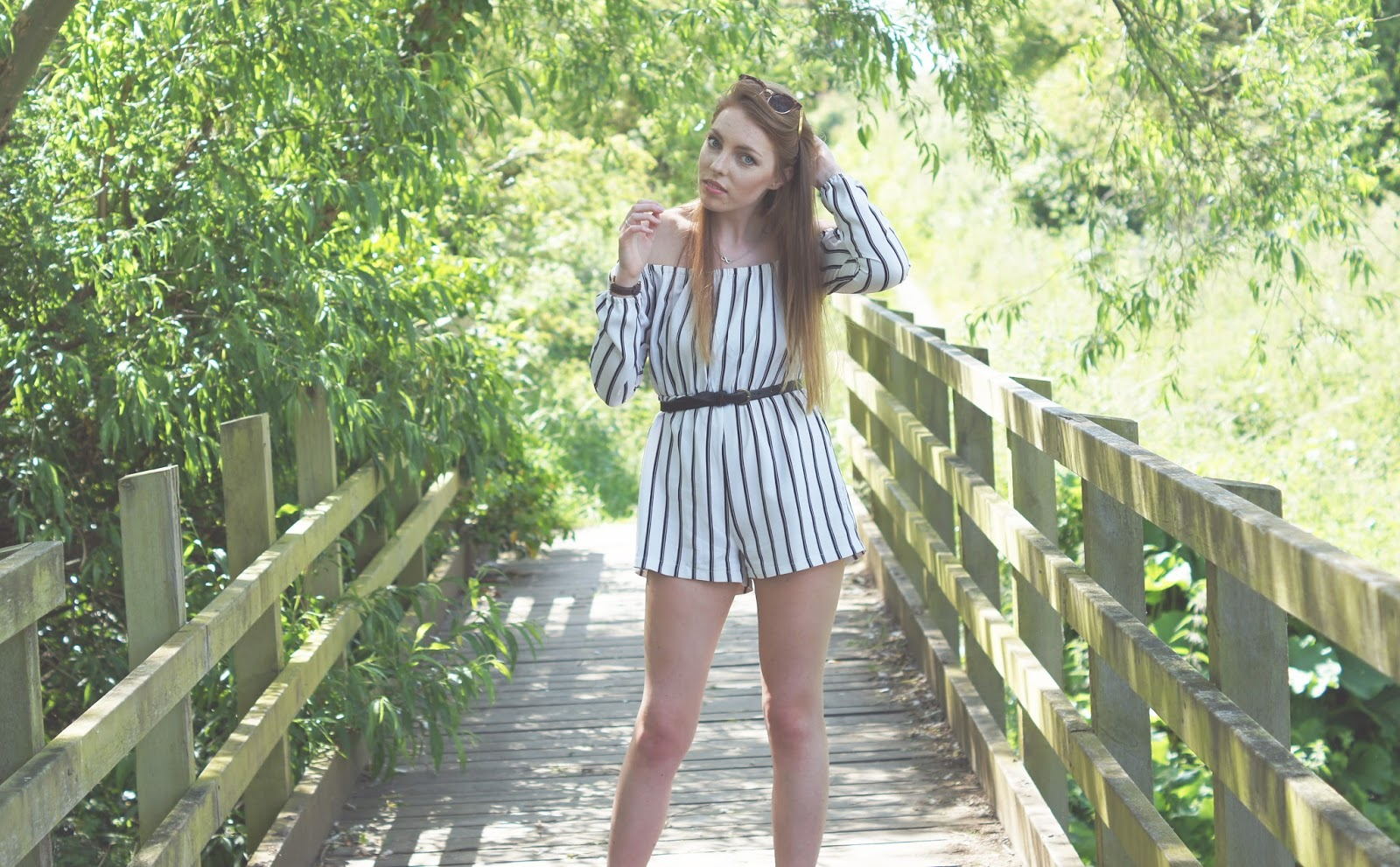 misguided black and white long sleeved playsuit