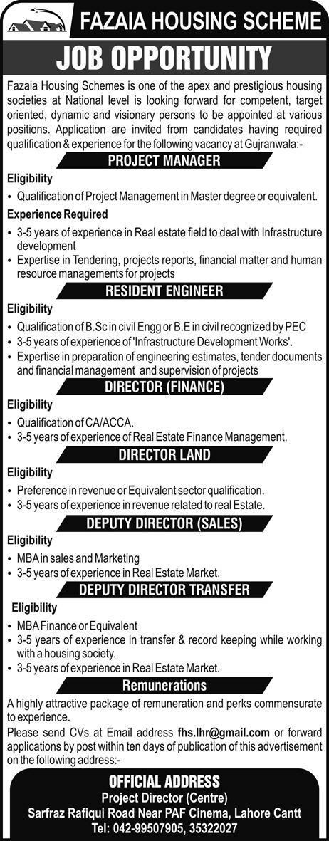Fazaia Housing Scheme Gujranwala Jobs 2018