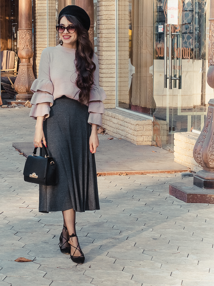 fashion blogger diyorasnotes ruffle top shein grey midi skirt lace up shoes mango beet elegant outfit