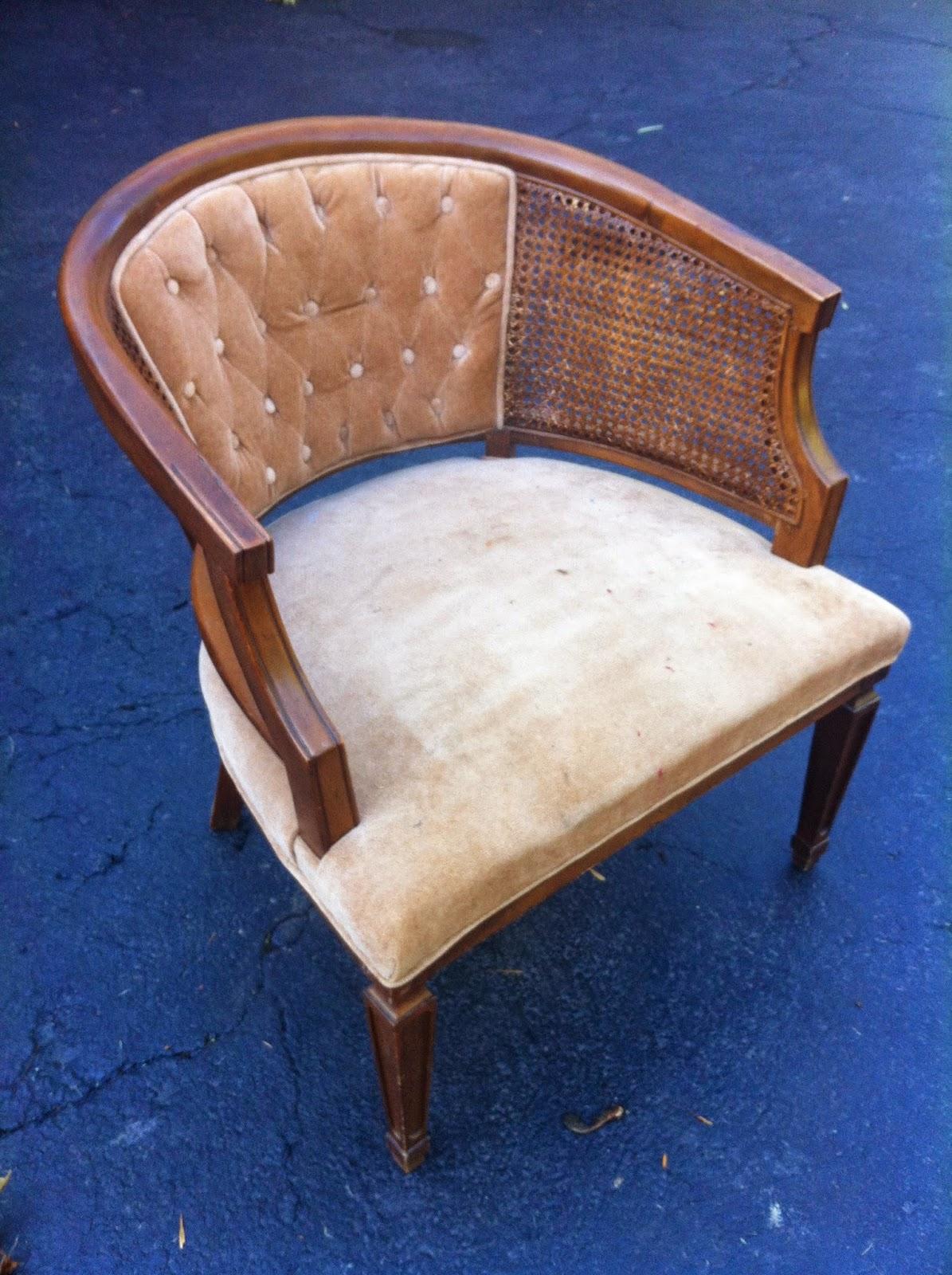 B Inspired Reupholster Cane Barrel Chair Part 1 Tutorial