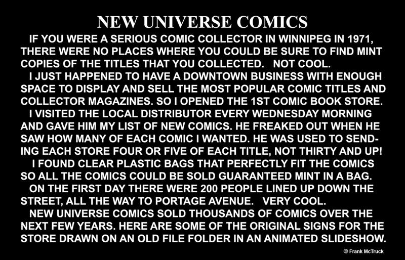 Frank McTruck's 1972 'New Universe Comics'