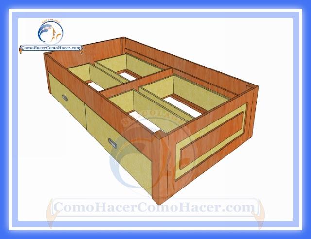 C mo hacer una cama medidas plano gu a construcci n web for Como hacer una cama alta de madera