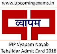 MP Vyapam Nayab Tehsildar Admit Card 2018