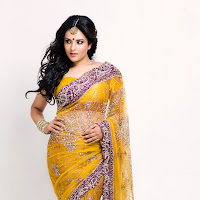 Cute divya in yellow saree