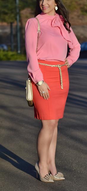 Spring Outfit Teacher Style Orange Pencil Skirt