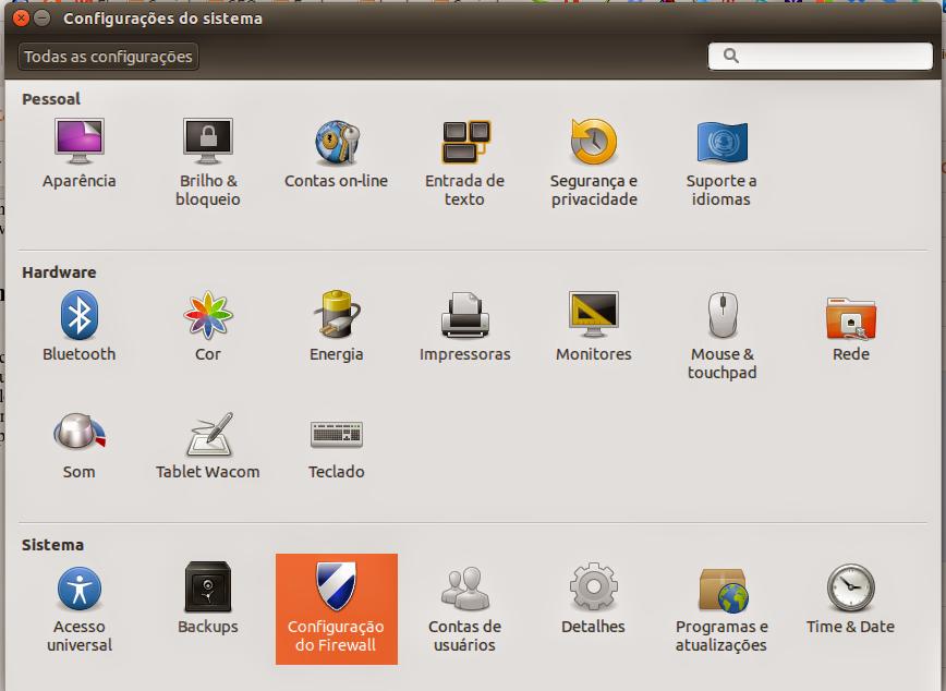 Centro de Controle do Ubuntu