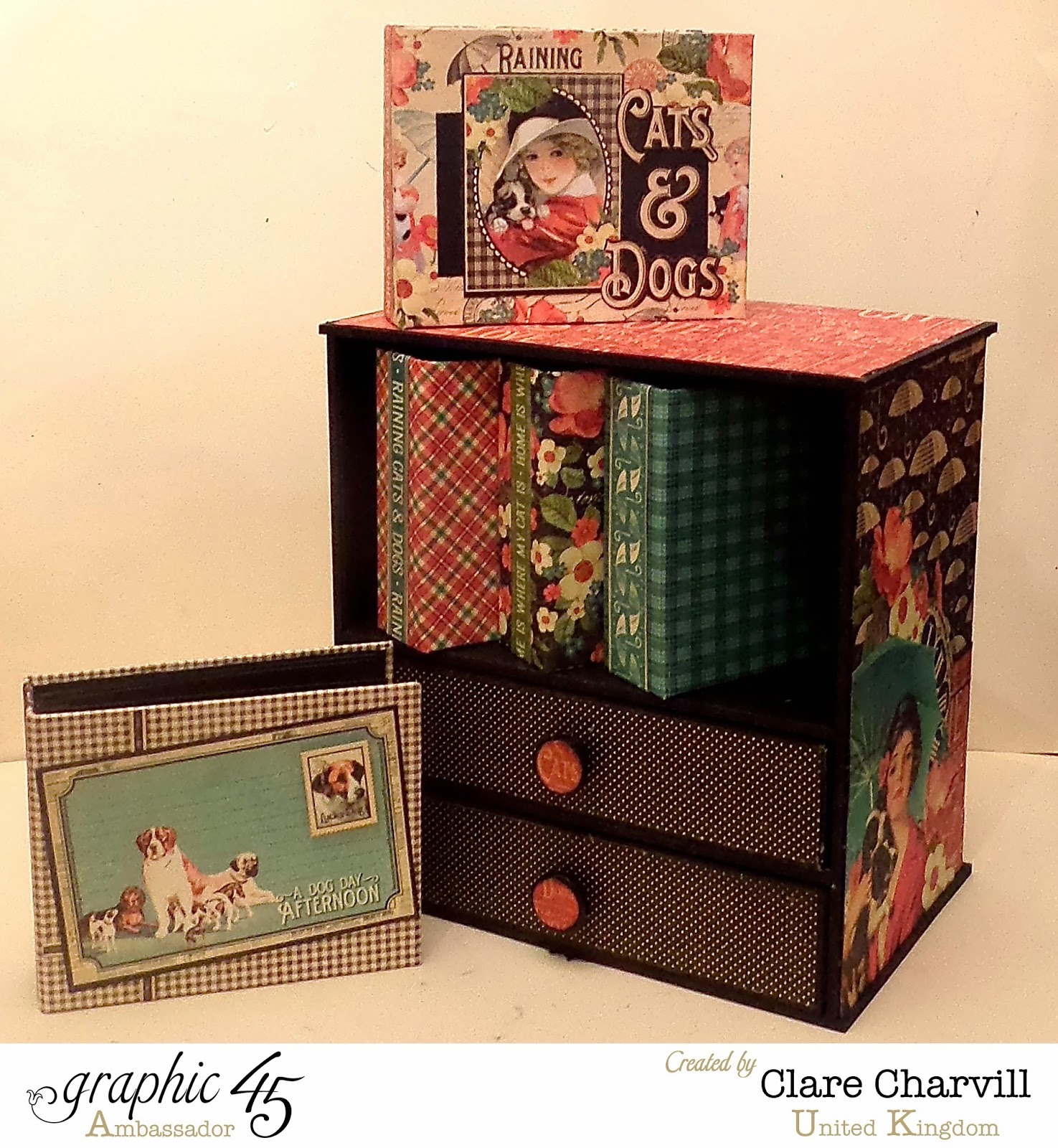 Mini Cabinet and Drawer Combo designed by Clare Charvill Raining Cats and Dogs papers by Graphic 45