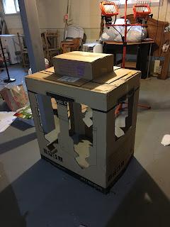 homemade diy daniel tiger trolley cardboard box birthday decoration