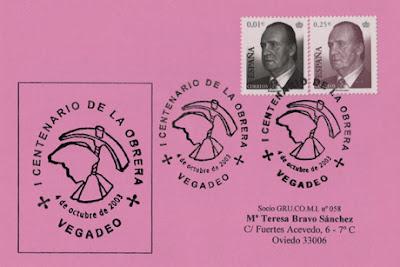 Tarjeta del matasellos del centenario de la Sociedad de Obreros Amigos de Vegadeo