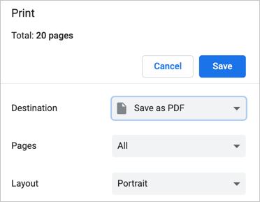 احفظ صفحة الويب بتنسيق PDF في Chrome