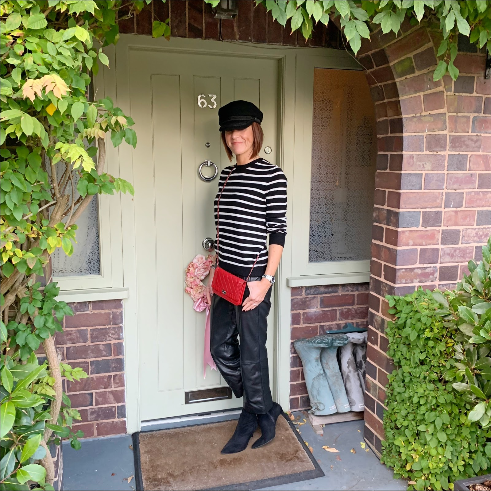 my midlife fashion, handm baker boy cap, chanel wallet on chain, marks and spencer stiletto heel velvet ankle boots, marks and spencer pure cashmere stripe round neck jumper, marks and spencer leather straight leg trousers