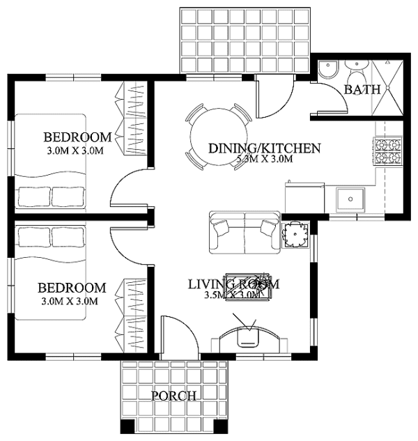 40 small house images designs with free floor plans lay out and estimated cost - Simple Modern House Floor Plans